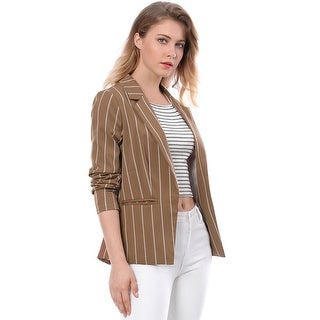 Allegra K Women Long Sleeve Notched Lapel Open Front Striped Blazer