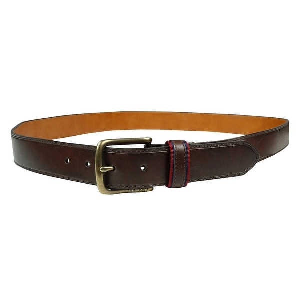 Tommy Hilfiger Men's Grosgrain-Trim Faux Leather Belt - Brown - 42
