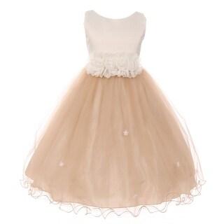 Little Girls Champagne Trim Floral Embellished Waist Flower Girl Dress