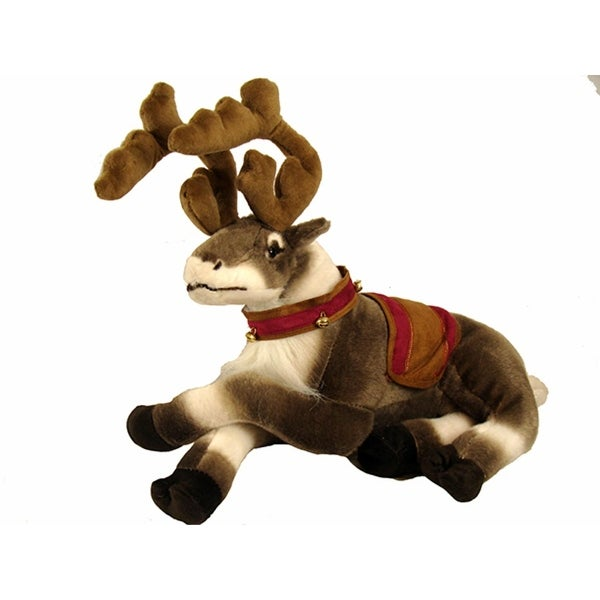 """16"""" Fluffy Laying Decorated Reindeer Christmas Table Top Figure - brown"""