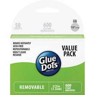 "600 Clear Dots - Glue Dots .5"" Removable Dot Sheets Value Pack"