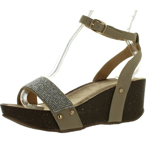 34b2509c736d Nature Breeze Flow-02 Womens Rhinestone Adjustable Ankle Strap Comfort Wedge
