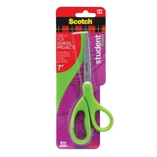 Scotch Student Scissor, 7 in, Stainless Steel Blade, Blue/Green or Purple