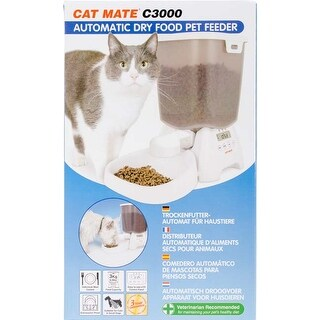 White - Cat Mate C3000 Automatic Dry Food Pet Feeder