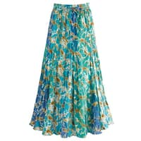 "Women's Waves Of Blue Broom Maxi Skirt - Elastic Waist - 35"" Long"