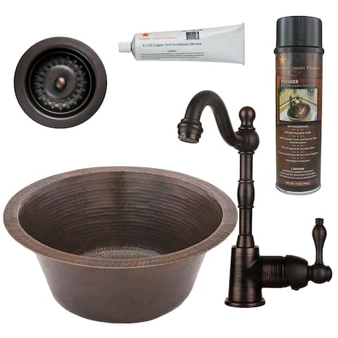 Premier Copper Products BSP4_BR16DB3-D Bar Sink, Faucet and Strainer Drain Package