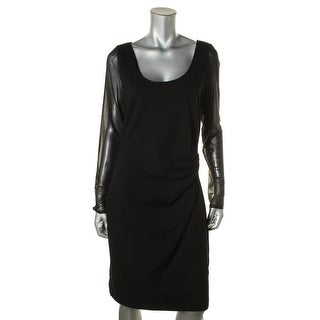 Kenneth Cole New York Womens Ruched Mesh Inset Wear to Work Dress - 12