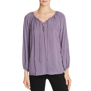 Velvet Womens Blouse Lace Up Bishop Sleeves