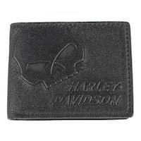 "Harley-Davidson Men's Skull Graphite Leather Billfold w/ Flip Out UN4627L-GRYBLK - 4.5"" x 3.5"""