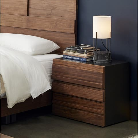 """2-Drawer Contemporary Wood Nightstand with Power and USB Outlets, 25"""" x 23"""""""