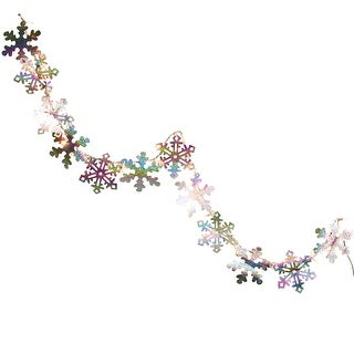 9.9' Silver Holographic Snowflake Christmas Light Garland with 35 Clear Mini Lights - White Wire
