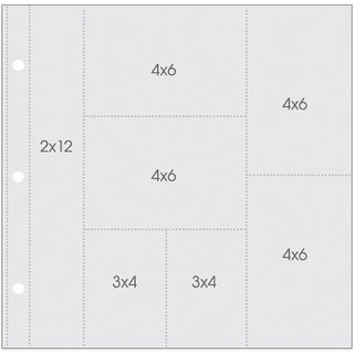 """Sn@P! Pocket Pages For 12""""X12"""" Binders 10/Pkg-(1) 2""""X12"""", (4) 4""""X6"""", (2) 3""""X4"""" Pockets"""