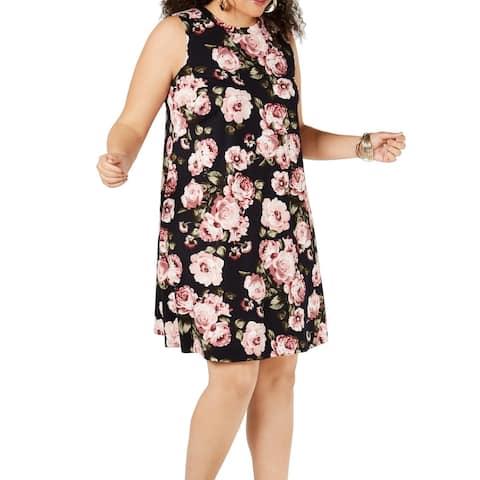 BCX Women's Dress Black Size 2X Plus Shift Crew Neck Floral Print