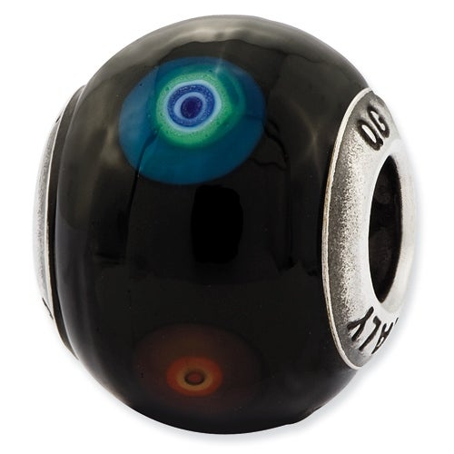 Italian Sterling Silver Reflections Black with Decorative Accents Glass Bead