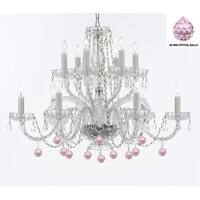Murano Venetian Style All Empress Crystal (TM) Chandelier with Pink Crystal Balls