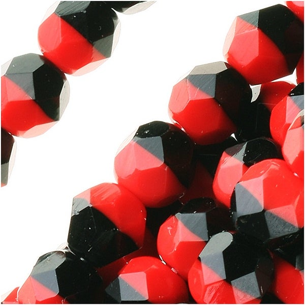 Czech Fire Polished Glass Beads 6mm Round - Black/Red (25)