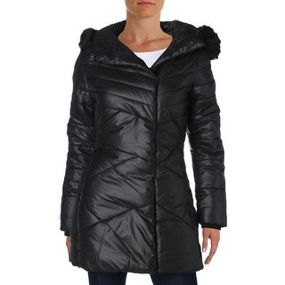 Noize Womens India Puffer Coat Hooded Faux Fur