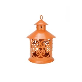 "8"" Shiny Orange Votive or Tealight Candle Holder Lantern with Star and Scroll Cutouts"
