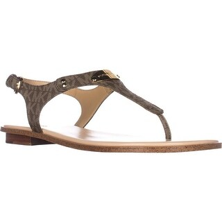 Michael Kors Plate Thong Logo Thong Flat Sandals, Mocha Logo