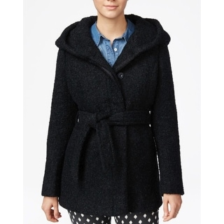 Coffeeshop Hooded Belted Walker Coat Navy Blue Size Small