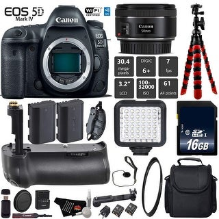 Canon EOS 5D Mark IV DSLR Camera With 50mm 1.8 STM Lens + Tripod + Professional Battery Grip + Card Reader - Intl Model