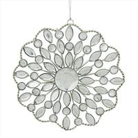 4.5 in. Silver Jeweled Rhinestone Medallion Christmas Ornament