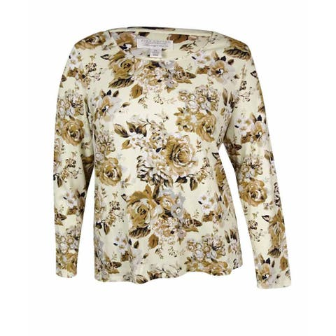 Charter Club Women's Floral Print Long Sleeves Pima Top