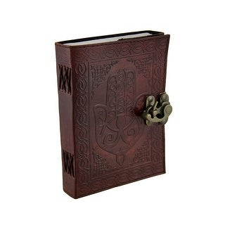 Hamsa Hand Brown Embossed Leather Bound Journal 5x7 in.