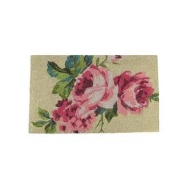 """Decorative Pink  Green and Tan Spring Floral Coir Outdoor Rectangular Door Mat 30"""" x 17.75"""""""