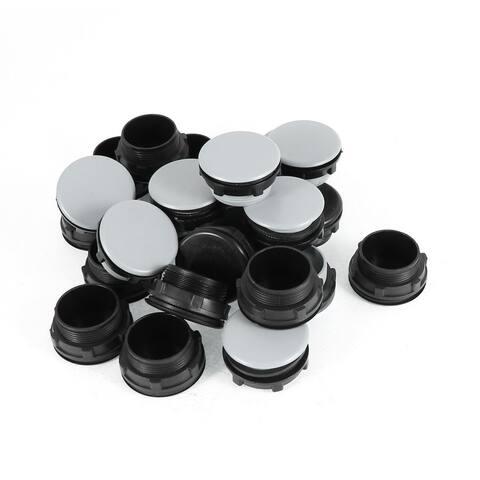 Unique Bargains 24 Pieces Black + Gray Plastic Push Button Switch 30mm Mount Hole Panel Plug