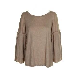 Sanctuary Heather Beige Bell S/4-Sleeve Rosamund Knit Top XL