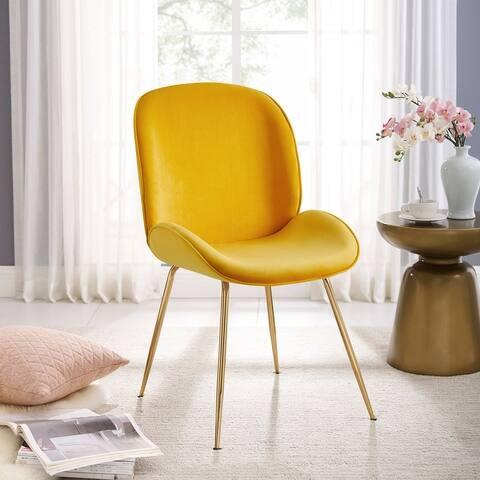 Shell Shape Velvet Uphostered Dining Room Side Chair