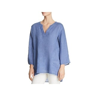 Side Stitch Womens Tunic Top Linen Frayed Hem - m