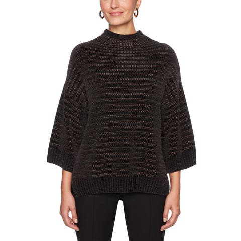 Ruby Rd. Black Gold Women's Size Medium M Chenille Mock Sweater