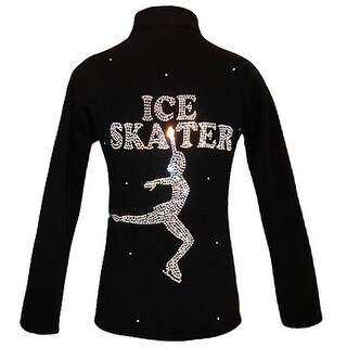 Ice Fire Skate Wear Black Jacket AB Crystal Ice Skater Girl 4-Women L