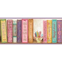 Brewster HAS01061B Vivi Purple Sugar And Spice Bookshelf Border Wallpaper - purple sugar and spice - N/A