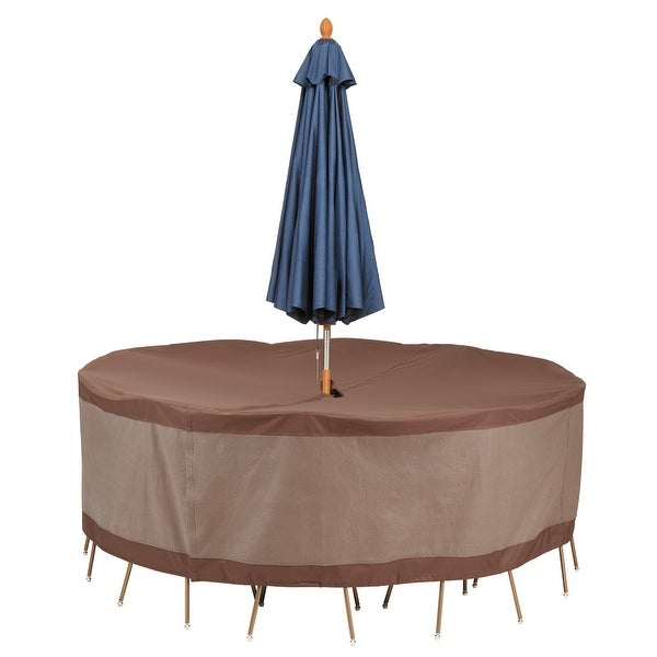 Duck Covers Ultimate Waterproof 94 Inch Round Patio Table and Chair Set Cover with Umbrella Hole. Opens flyout.