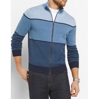 Michael Kors NEW Blue Men's Size 2XL Colorblock Full Zip Sweater