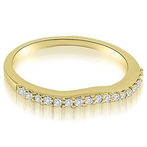 0.13 cttw. 14K Yellow Gold Curved Round Cut Diamond Wedding Band