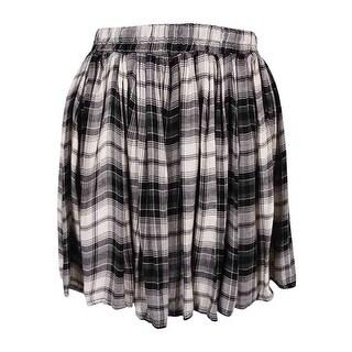 American Rag Juniors' Plaid Pleated Skirt - classic black combo