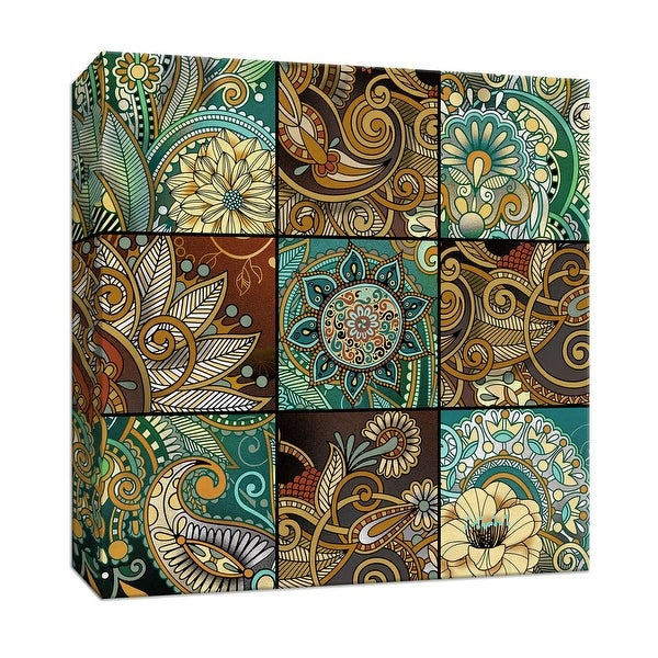 """PTM Images 9-146833 PTM Canvas Collection 12"""" x 12"""" - """"Zentangle Nine Patch"""" Giclee Flowers Art Print on Canvas"""