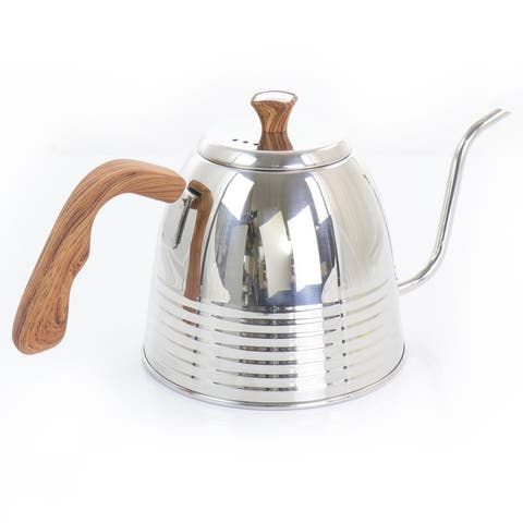Mr. Coffee 1.3 Quart Stainless Steel Goodneck Kettle with Wood Texture