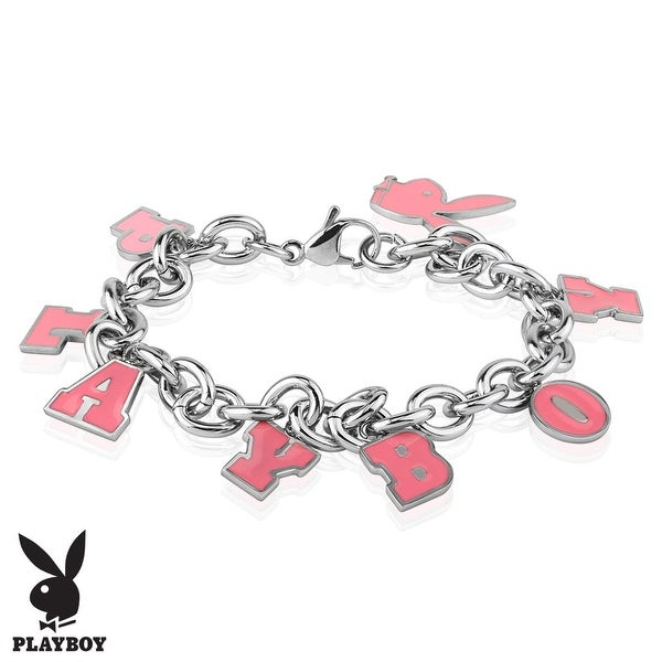 Pink Enamel Filled Playboy Charm Stainless Steel Bracelet (10 mm) - 8 in