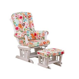 Cotton Tale Glider Colorful Floral on White with Ottoman, Lizzie