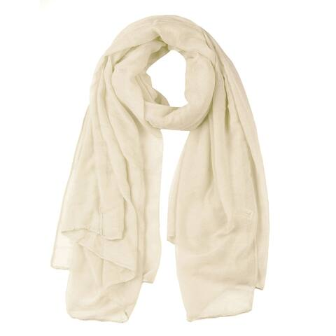 """Soft Lightweight Long Scarves With Solid Color Shawl For Women Men Beige - 73""""x 49"""""""