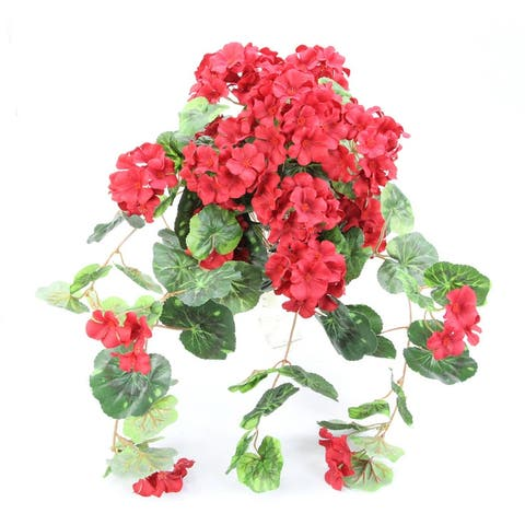 GPB4307-OR/CRAN MIX Artificial Full Hydrangea Mixed Bush, Orange, 24 Stems - Red