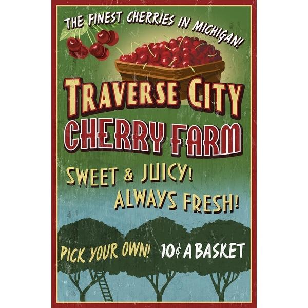 3e40f9240cb61 Traverse City, Michigan - Cherry Farm Vintage Sign - Lantern Press Artwork  (Art Print - Multiple Sizes Available)