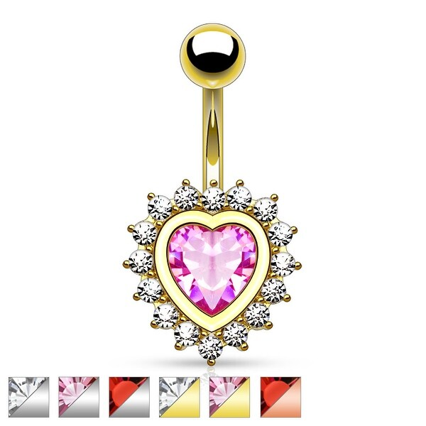 Heart Shape Paved CZ Around Large Heart CZ Belly Button Rings