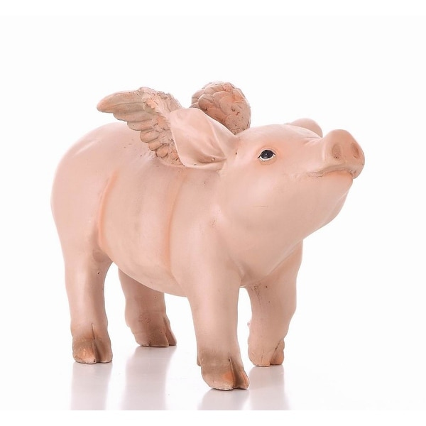 """12.5"""" Pig with Wings Walking Garden Statue - N/A"""