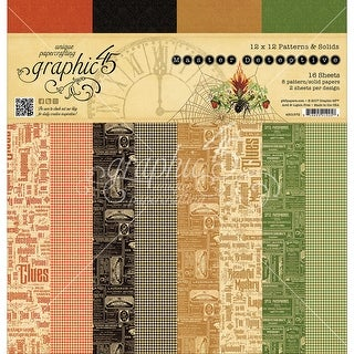 """Graphic 45 Double-Sided Paper Pad 12""""X12"""" 16/Pkg-Master Detective Print/Solid, 12 Designs"""